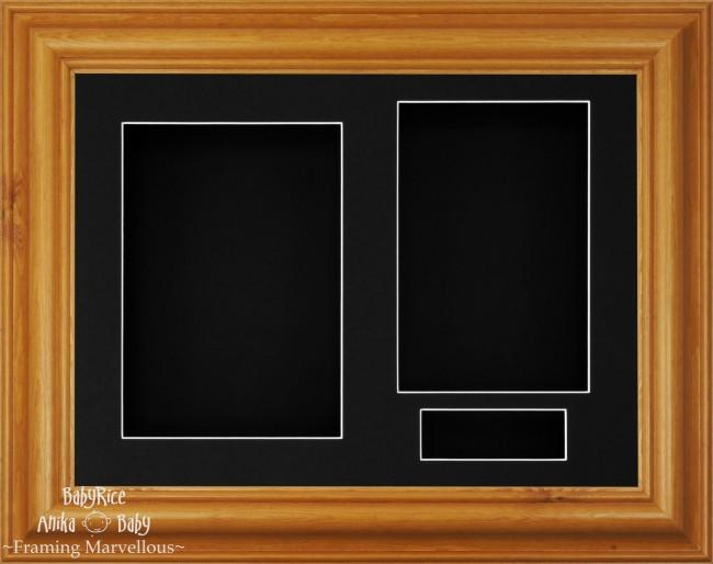 "11.5x8.5"" Honey Pine Wood 3D Display Frame 3 Hole Black Mount Black Back"