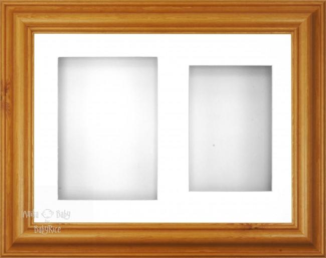 "12x9"" Honey Pine Wood 3D Display Frame 2 Hole White Mount White Back"