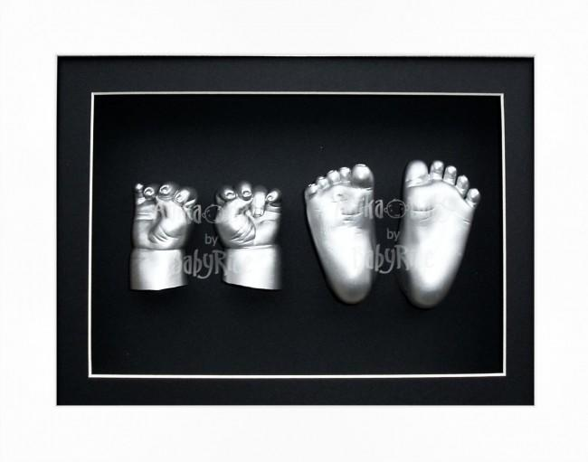 Large Twin Baby Casting Kit, White Frame, Silver Twins Casts