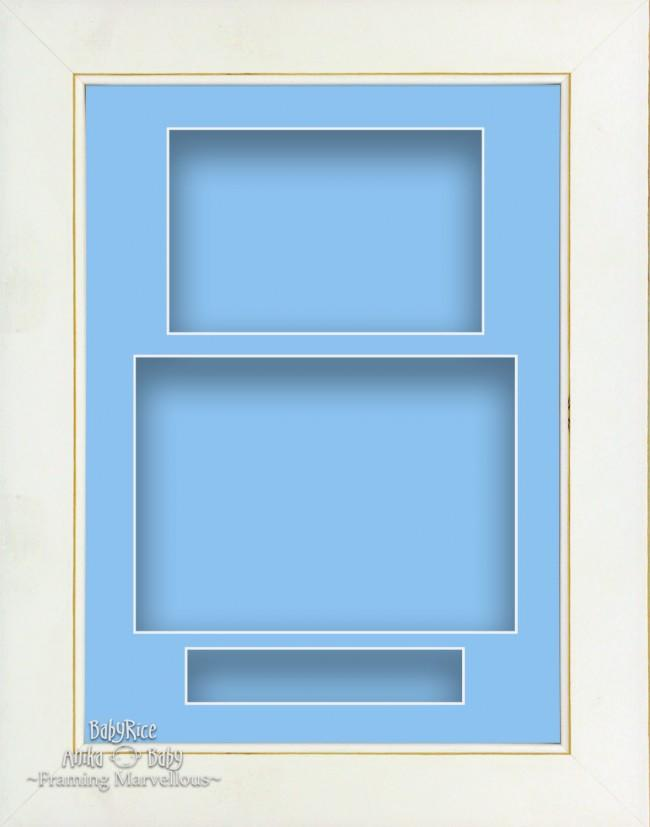 "11.5x8.5"" White Wash 3D Deep Shadow Box Display Frame Blue Portrait"