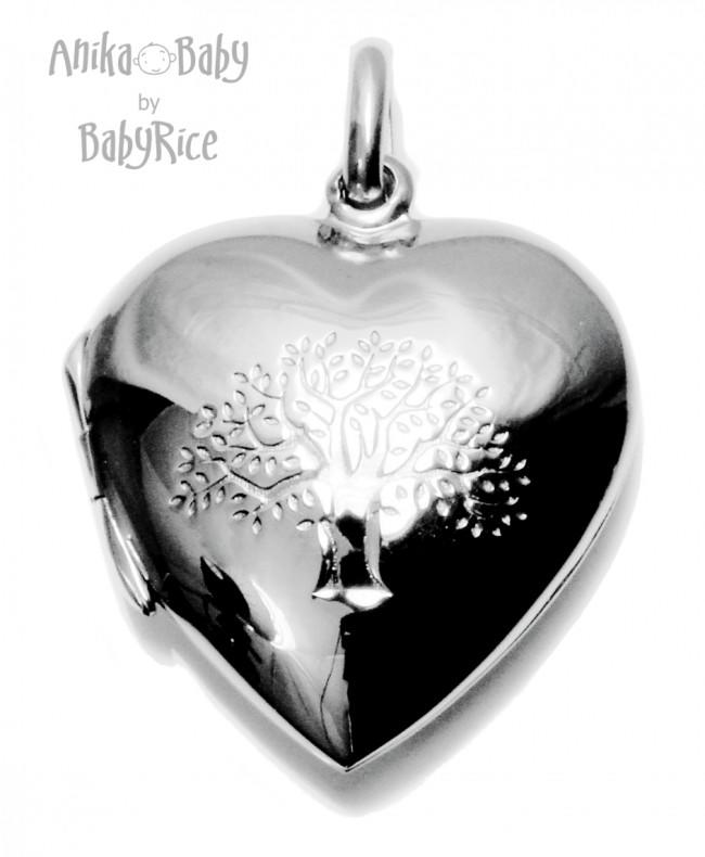 Sterling Silver Heart Pendant Locket Tree of Life Family