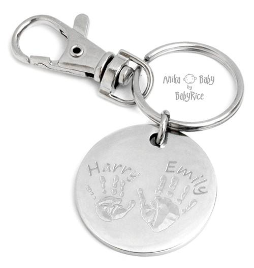Large Stainless Steel Circle Hand Footprints Keyring