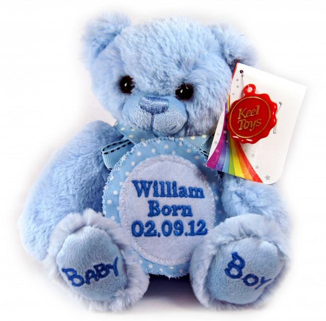 Personalised Badge Blue Teddy Bear Small 18cm