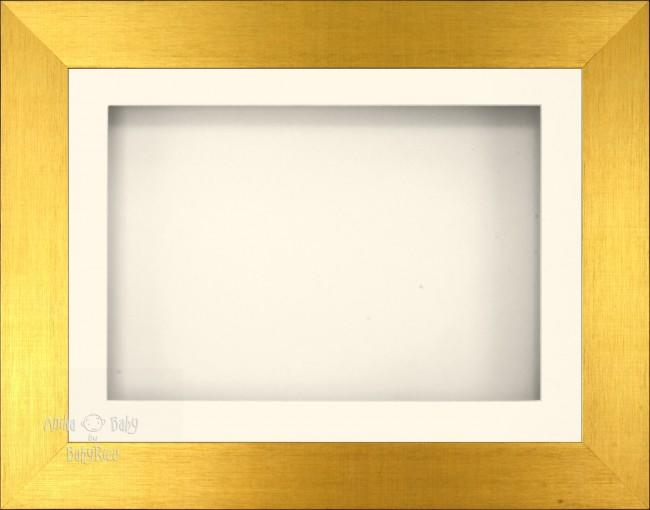 "11.5x8.5"" Brushed Gold 3D Display Frame 1 Hole Cream Mount Cream Back"
