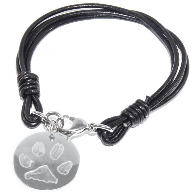 Dog Paw Print in Steel Circle Pendant Black Leather Bracelet