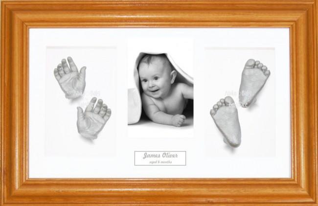 Baby Silver Handprint Footprint Casting Kit, Honey Pine Frame