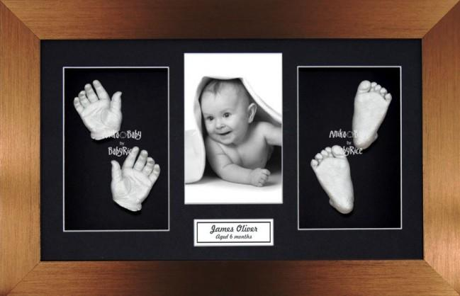 Large Baby Casting Kit / Bronze Photo Display Frame / Silver paint