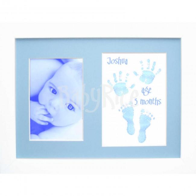 Baby Handprint Footprint Kit / Blue Paint Wipe / Large Display Frame