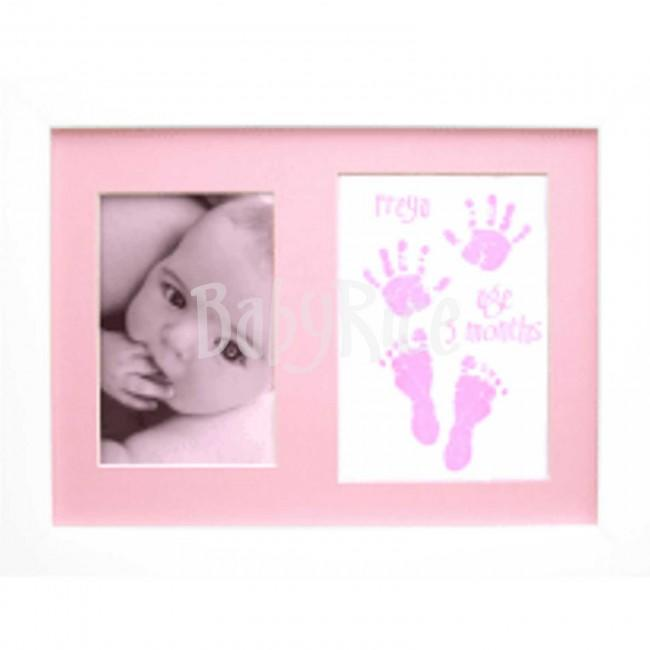 Baby Handprint Footprint Kit / Pink Paint Wipe / Display Frame