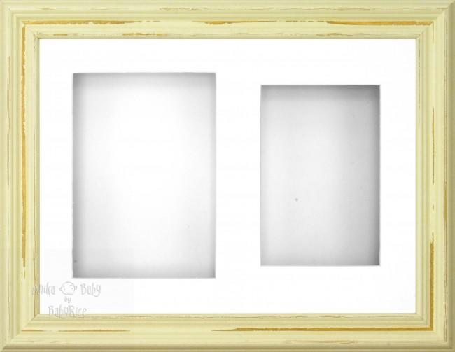 "11.5x8.5"" Shabby Chic 3D Display Frame 2 Hole White Mount White Back"