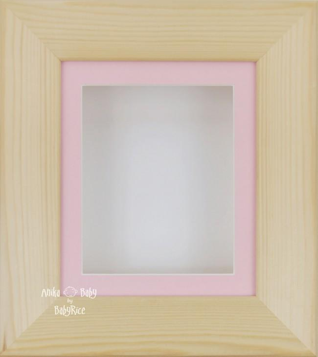 Natural Pine Small Display Frame / Pink mount & White backing card