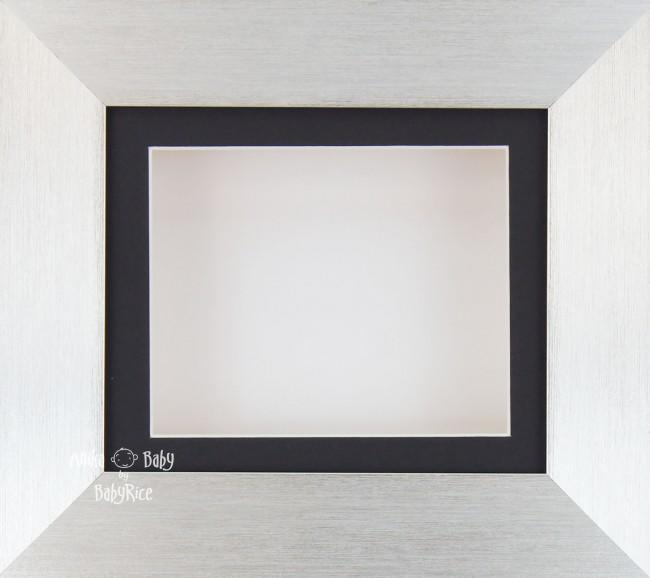 Silver Deep Shadow Box Display Frame Black Mount White Backing