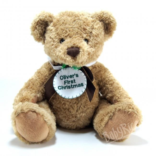 Teddy bear wearing personalised embroidered felt badge