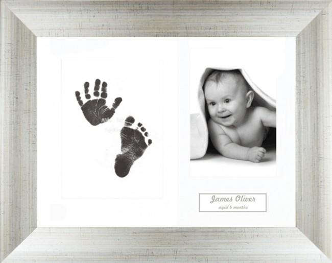 New Baby Inkless Prints, Hand & Footprint Kit, Antique Silver Frame