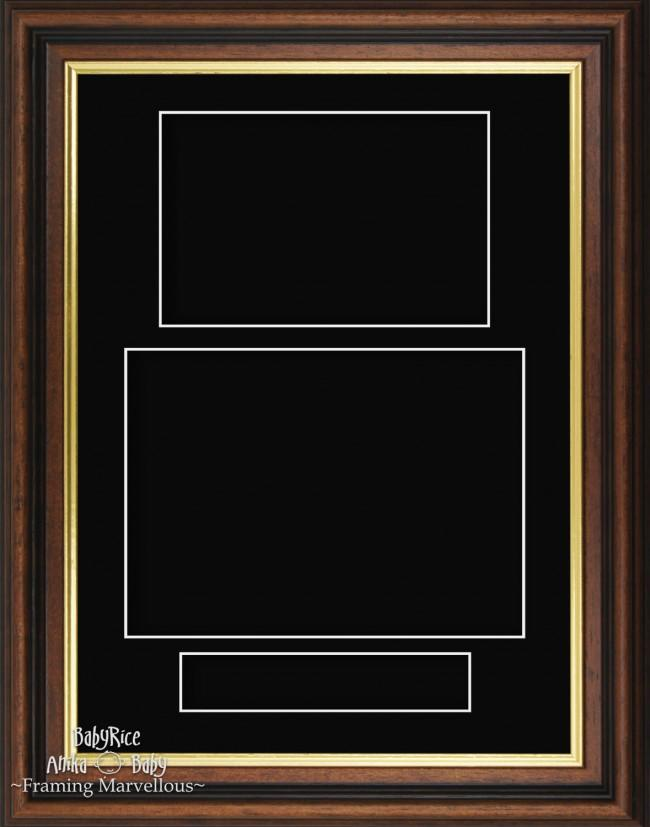Mahogany effect Gold trim Black Portrait Display Box Frame