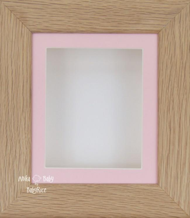 Solid Oak Wooden Shadow Box Display Frame / Pink & White