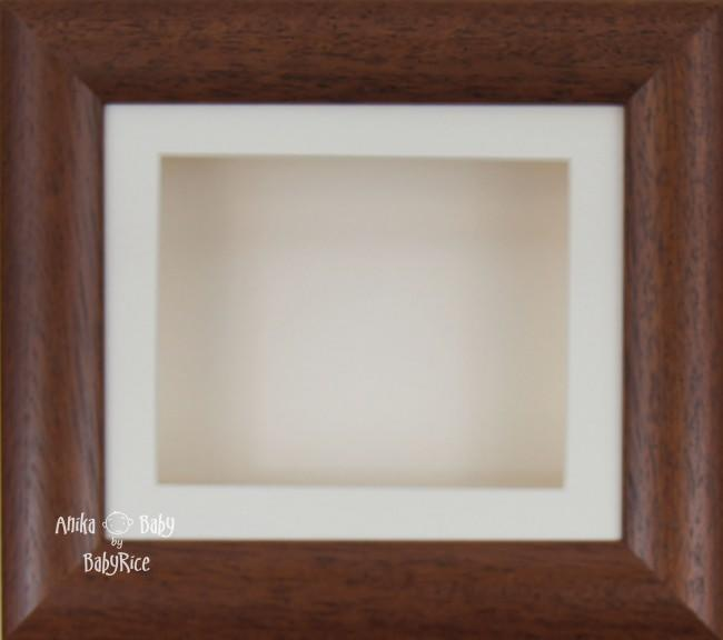 "6x5"" Dark Wood Dee Box Display Frame Cream mount & Backing"