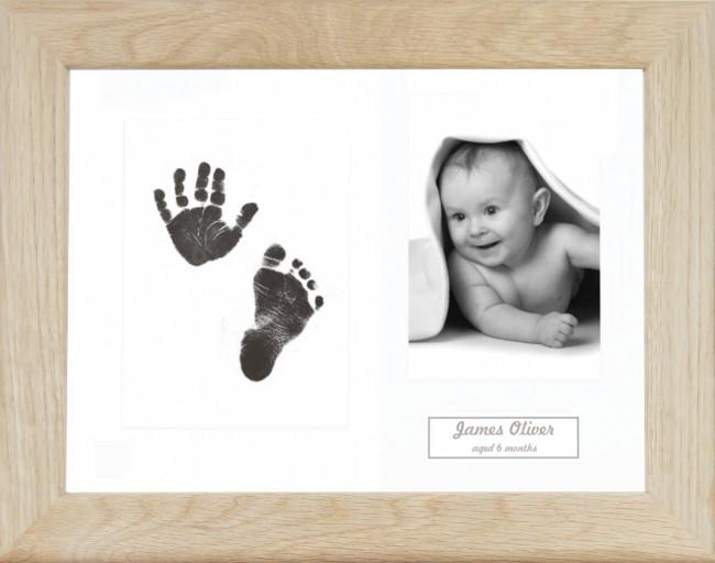 New Baby Gift Inkless Prints, Hand & Footprint Kit, Solid Oak Frame