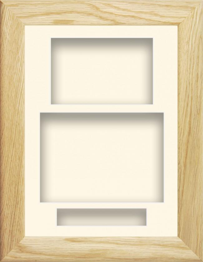 11.5x8.5 Solid Oak Wooden Deep Box Display Frame Cream Portrait