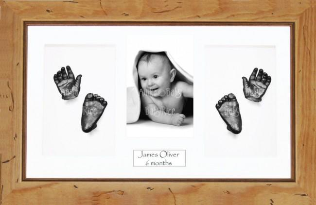 Large or Twins Baby Casting Kit / Rustic Pine Frame / Pewter Paint