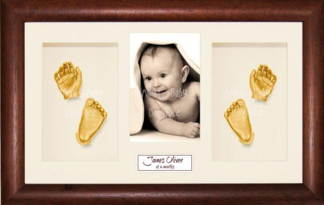 New Baby Baptism Gift, 3D Handprint Footprint Kit, Dark Wood, Gold