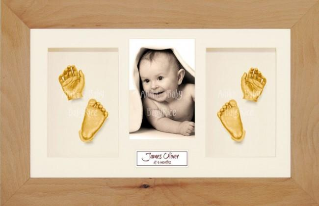 Baby Casting Kit Christening Gift, Beech Wooden Frame, Gold Casts