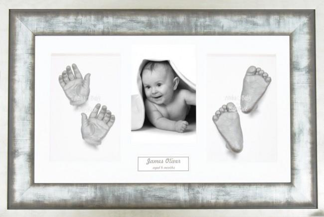 Baby Casting Kit / Metal effect Frame / White Photo Display / Silver Paint
