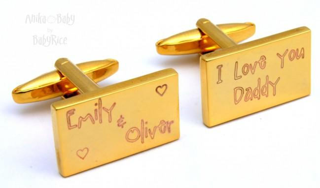 Personalised Men's Gold Tone Rectangle Cufflinks Baby's Name