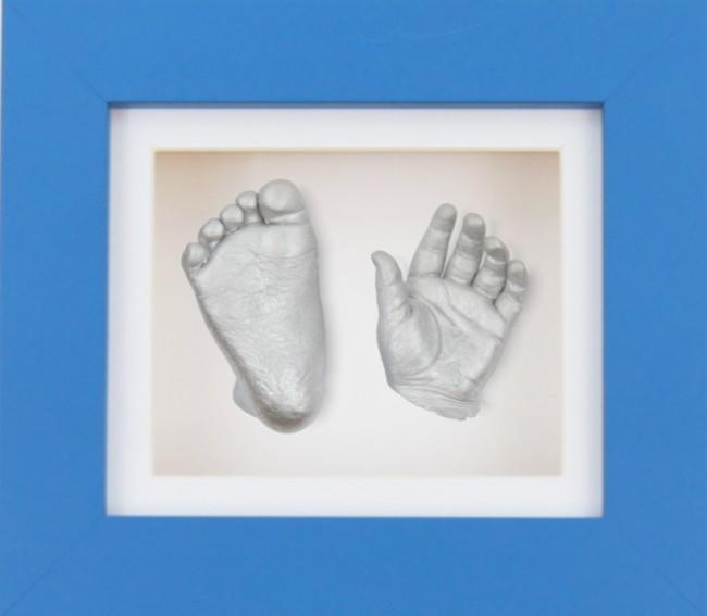Baby Boy Gift 3D Casting Kit Blue Frame White Silver Casts