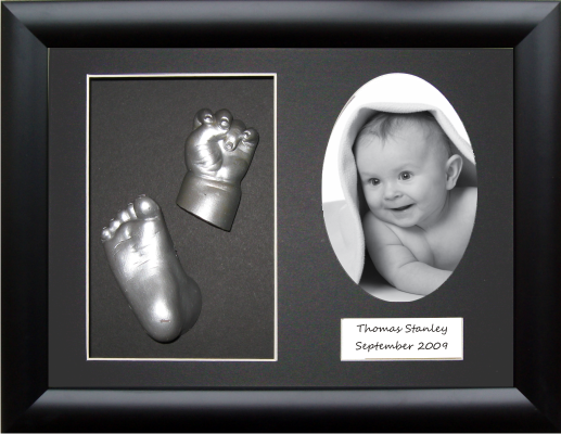 Unique Christening Gift, Baby Casting Kit, Black Frame, Silver paint