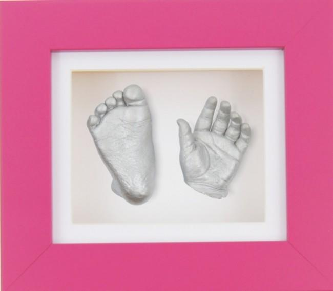 New Baby Girl Gift 3D Hand Foot Silver Casting Kit Pink Frame
