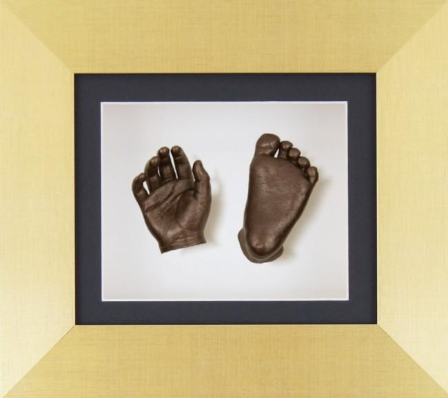 Gold Frame Baby Casting Black White mount Bronze Hand Foot Casts