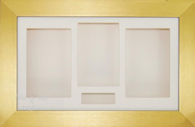 Large Brushed Gold 3D Shadow Box Display Frame / Cream