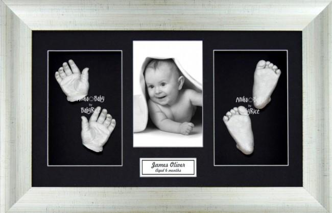 Large or Twins 3D Baby Casting Kit, Antique Silver Frame, Silver Paint