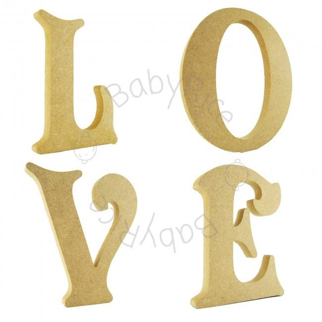 MDF wooden letters spelling out LOVE