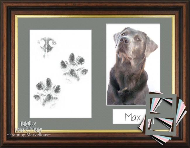 Dog Paw Print Kit with Mahogany Wooden Frame