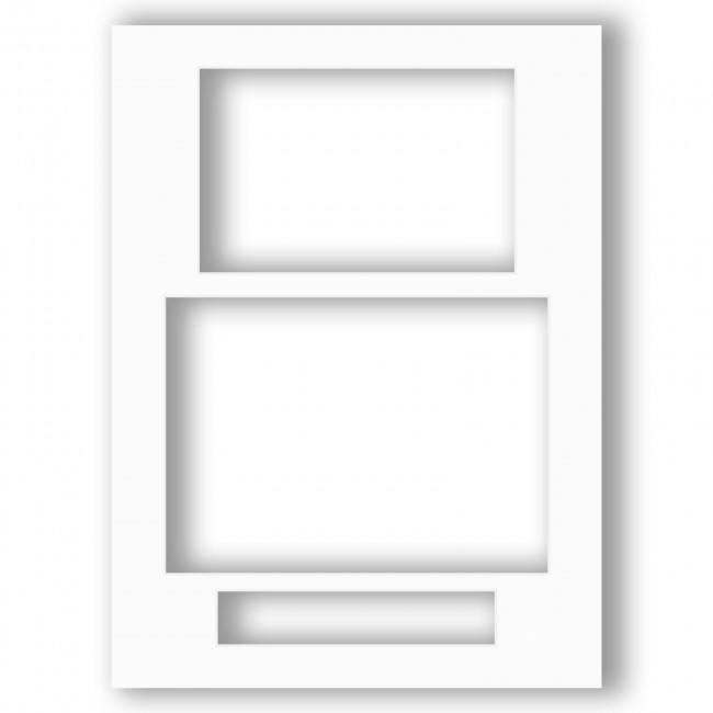 Three Aperture Picture Frame Mount 12x9 Inches (Portrait) - Absolute White