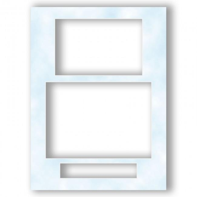 Three Aperture Picture Frame Mount 12x9 Inches (Portrait) – Cloudy Blue