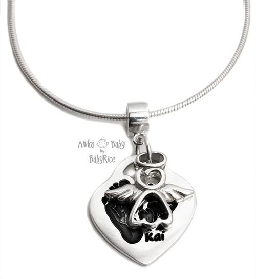 Solid Sterling Silver Heart Pendant with Angel Charm on Connector and Snake Chain