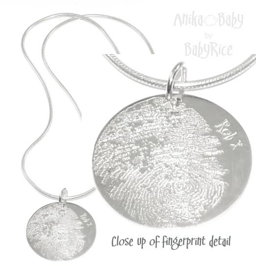 Adult Fingerprint Jewellery Silver Circle Pendant on Snake Chain Necklace (non oxi)