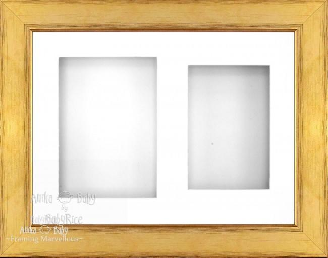 "11.5x8.5"" Gold 3D Deep Box Frame Cream 2 Mount - BabyRice"