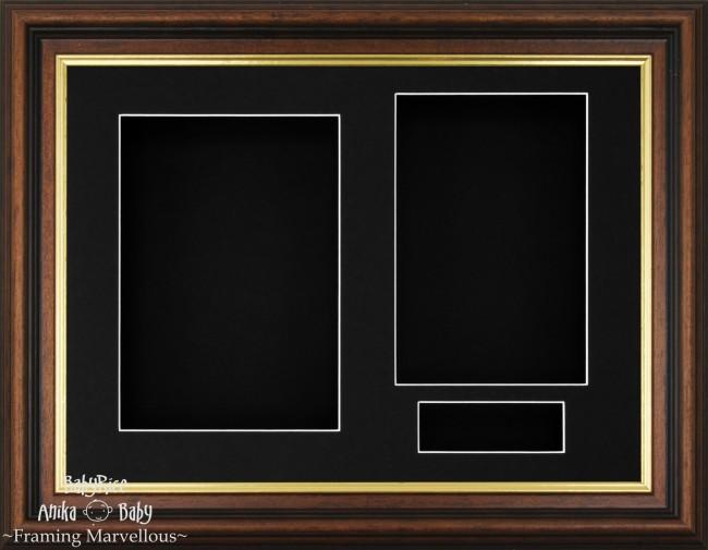 Mahogany effect Gold trim 3D Display Box Frame Black - BabyRice