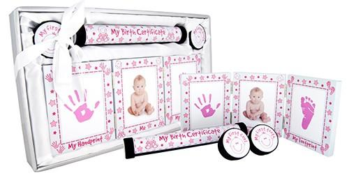 Baby Keepsake 4 Piece Gift Set - White and Pink