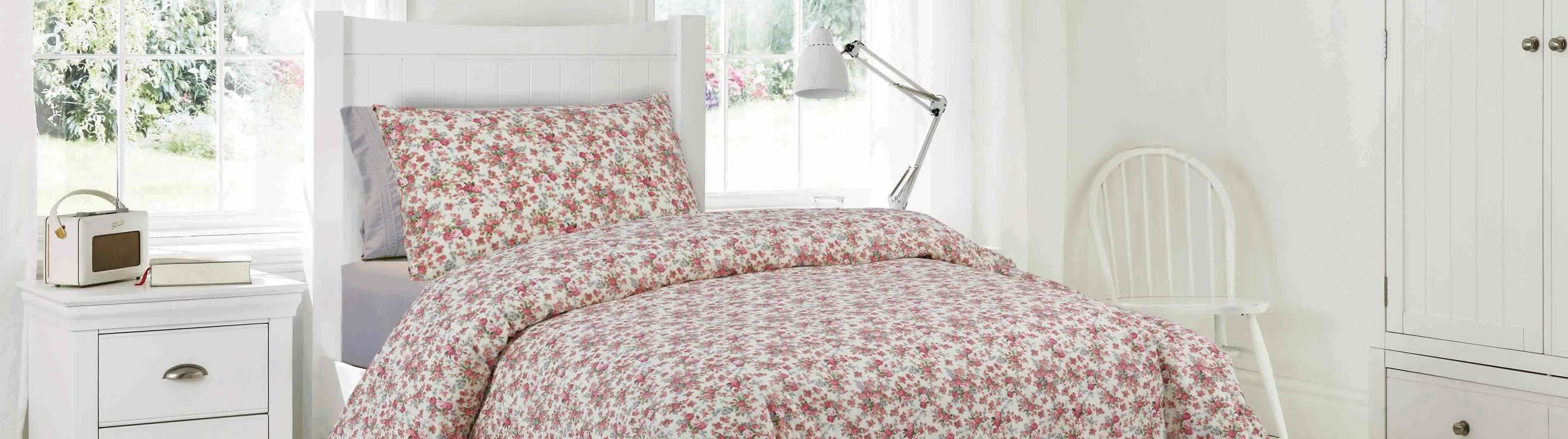 Duvet covers from single to super king size, many colours and patterns to choose from