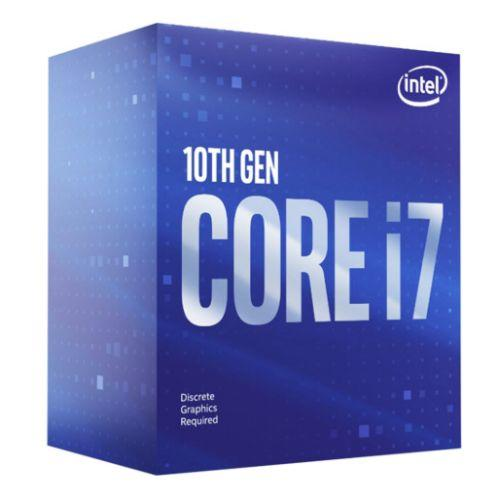 , 1200, 2.9 GHz (4.8 Turbo), 8-Core, 65W, 14nm, 16MB Cache, Comet Lake, NO GRAPHICS Stock CodeI7-10700FManufacturer LinkINTELManufacturer CodeBX8070110700FEAN Number5032037188760Printable Version45 Available Buying Options £275.70 Inc. VAT Quantity 1 Add to Basket Quantity Discount 1-4£275.705-19£275.1120+£274.25 + Add to FavouritesSpecificationOverview Product DescriptionIntel Core I7-10700F CPU, 1200, 2.9 GHz (4.8 Turbo), 8-Core, 65W, 14nm, 16MB Cache, Comet Lake, NO GRAPHICSSocket1200TypeIntel Core i7Clock Speed2.9 GHzTurbo Speed4.8 GHzCores8 CoreCore Size14 nmThreads16Cache16MBMax TDP65WGraphicsNoMemory TypesDDR4-2933Max PCI Express Lanes16HeatsinkYesSpecial FeaturesSee OverviewPackage TypeRetailPackage Weight0.2900 kgWarranty3 YearsRelated ProductsAsrock Z490M PRO4, Intel Z490, 1200, Micro ATX, 4 DDR4, XFire, VGA, HDMI, DP, M.2 £140.47Asrock B460M STEEL LEGEND, Intel B460, 1200, Micro ATX, 4 DDR4, HDMI, DP, XFire, 2.5GB LAN, RGB Lighting, M.2 £91.98Asus PRIME H410M-E, Intel H410, 1200, Micro ATX, 2 DDR4, VGA, HDMI, M.2 £61.70Asrock H410M-ITX/AC, Intel H410, 1200, Mini ITX, 2 DDR4, HDMI, DP, AC Wi-Fi, M.2 £82.19Asus PRIME B460-PLUS, Intel B460, 1200, ATX, 4 DDR4, XFire, VGA, DVI, HDMI, M.2 £92.06