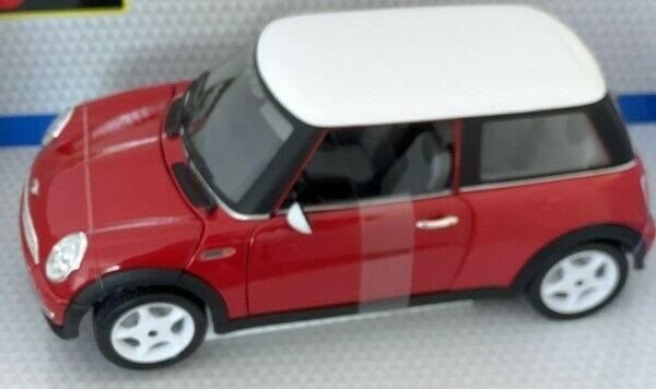 BMW Mini Cooper in red with white roof 1:18 scale