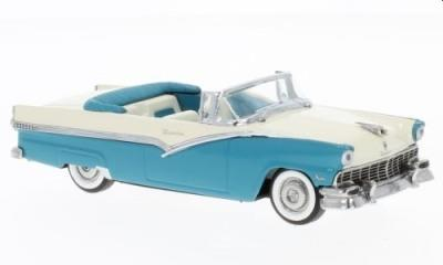 Ford Fairlane open top convertible in peacock blue/ colonial white,1:43 scale vitesse model V36279