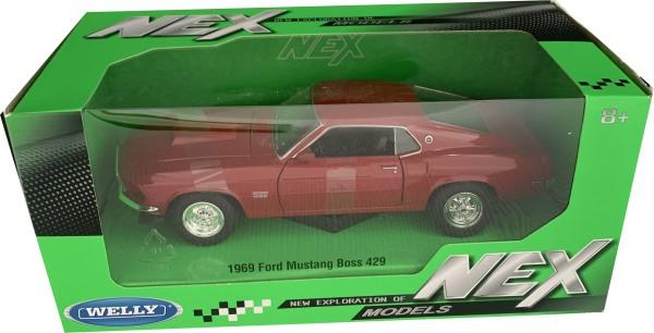 Ford Mustang Boss 429 in red, 1969, 1:24 scale diecast model from welly, WEL24067R