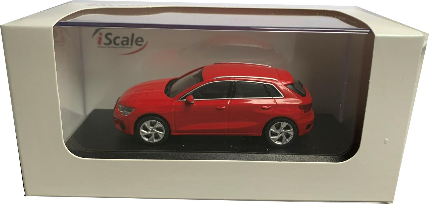 Audi A3 Sportback 2020 in tango red 1:43 scale model from iScale