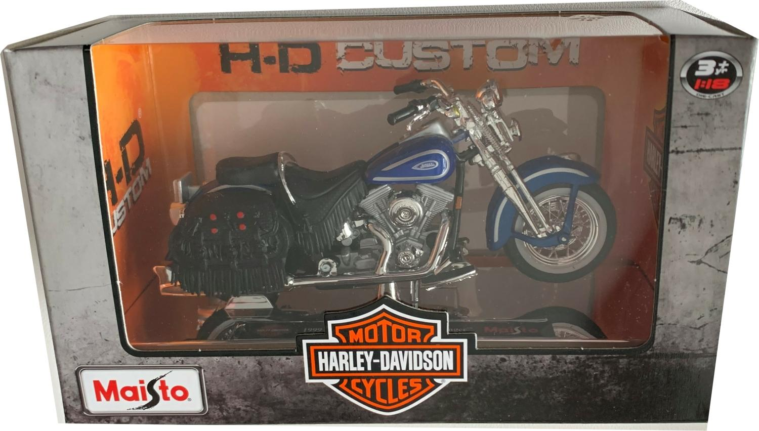 Harley Davidson 1999 ,FLSTS, Heritage Softail Springer in blue, 1:18 scale model from Maisto